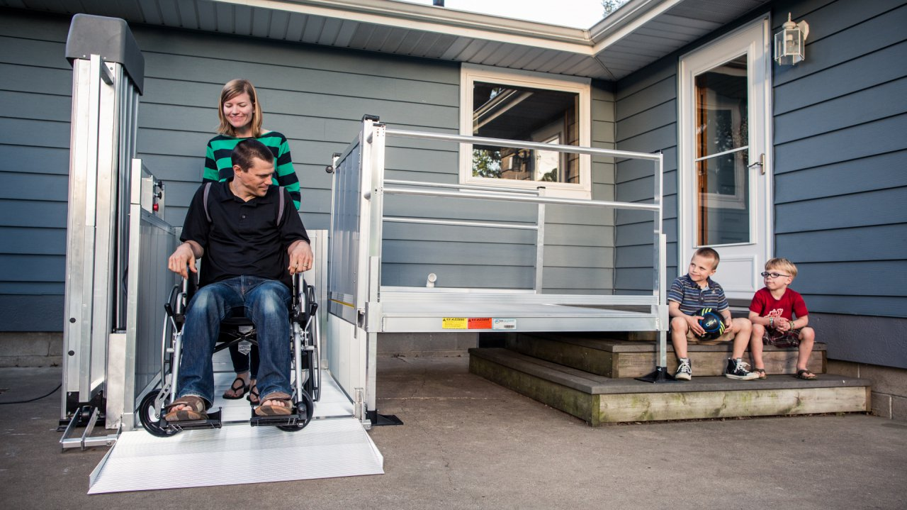 ezaccess aluminum passport vertical wheelchair lift platform